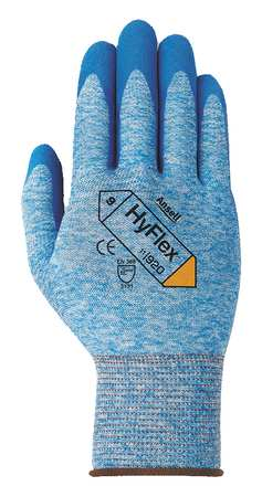 Coated Gloves, Knit Wrist, L, Blue, PR