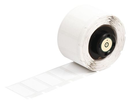 "1-1/2"" x 1/2"" White Adhesive Label,  Polyester"