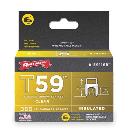 "1/4"" x 1/4"" T59 Clear Insulated Staples,  300 pk."