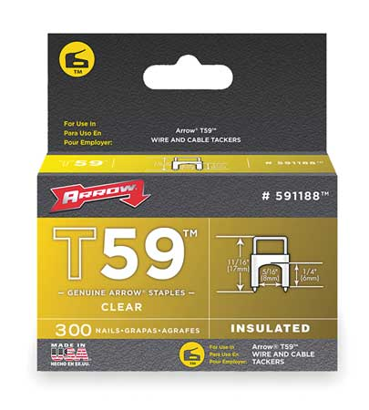 "1/4"" x 5/16"" T59 Clear Insulated Staples,  300 pk."
