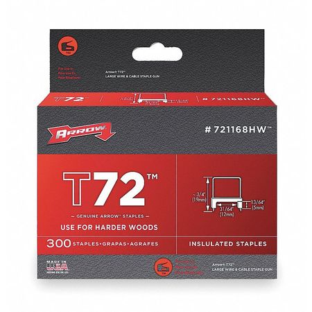 "31/64"" x 13/64"" T72 Clear Insulated Staples for Hard Woods,  300 pk."