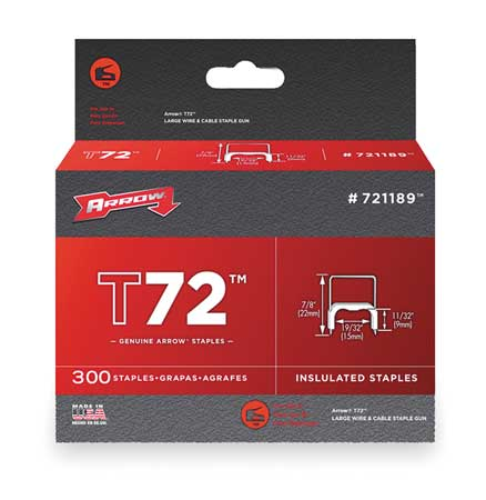 "19/32"" x 11/32"" T72 Insulated Staples,  300 pk."