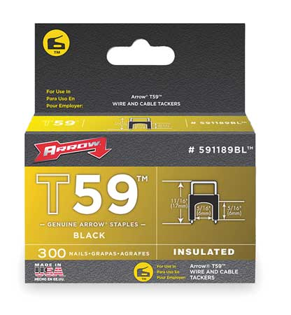 "5/16"" x 5/16"" T59 Black Insulated Staples,  300 pk."