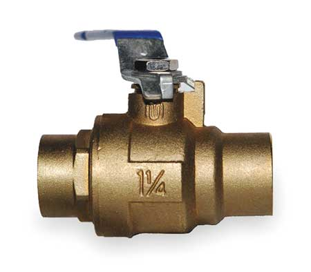 "1-1/4"" Sweat Brass Ball Valve Inline"