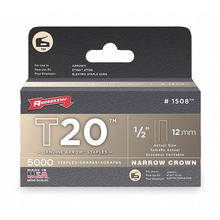 "3/16"" x 1/2"" T20 Narrow Crown Staples,  5000 pk."