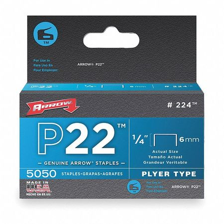 "7/16"" x 1/4"" P22 Plyer Type Flat Crown Staples,  5000 pk."