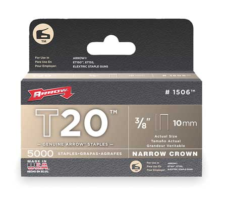 "3/16"" x 3/8"" T20 Narrow Crown Staples,  5000 pk."