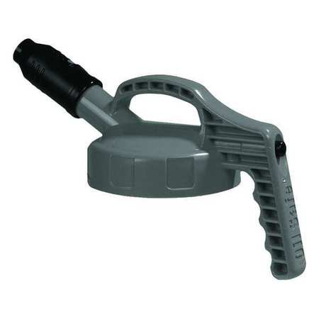 Stumpy Spout Lid, w/1 In Outlet, HDPE, Gray