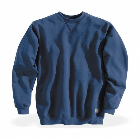 Crew Neck Sweatshirt, Blue, Cotton/PET, 2XL