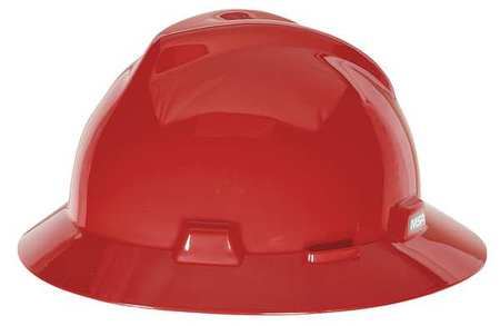 Hard Hat, FullBrim, Slotted, PinLk, Red