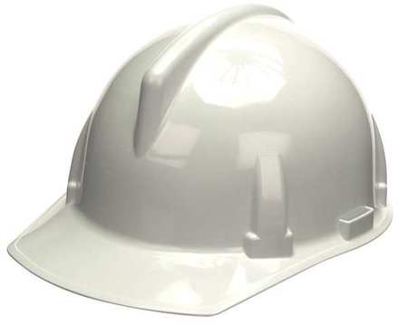 Hard Hat, FrtBrim, Slotted, Rtcht, White