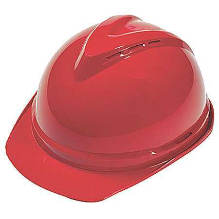 V-Gard Hard Hat, FrtBrim, Slotted, 6Rtcht, Red