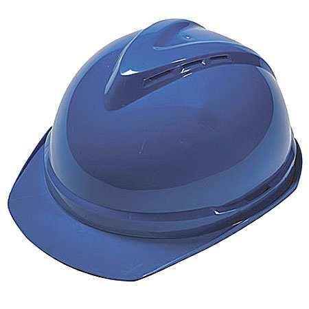 V-Gard Hard Hat, FrtBrim, Slotted, 6Rtcht, Blue