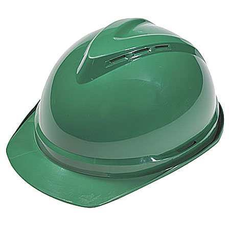 Hard Hat, FrtBrim, Slotted, 6Rtcht, Green