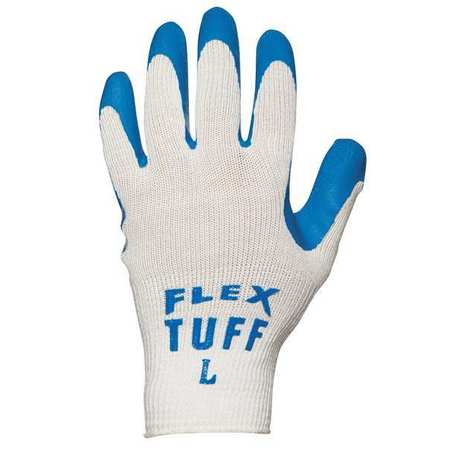 Coated Gloves, Latex, Blue/White, L, PR