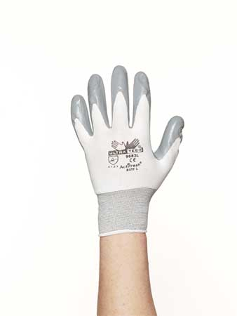 Coated Gloves, XL, Gray/White, PR