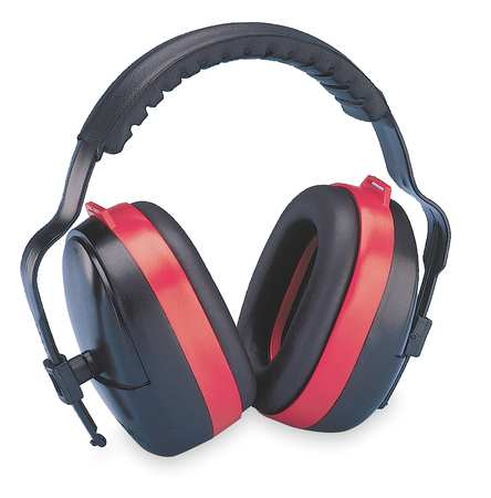 Ear Muff, 28dB, Multi-Position, Black/Red