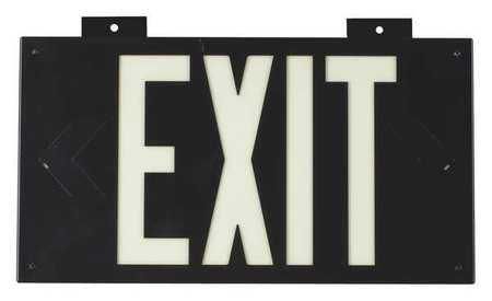 Exit Sign, 8-1/4 x 15In, WHT/BLK, Exit, ENG