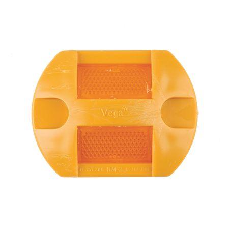Pavement Marker, Amber, 2-Way, 4 L x 3 In W
