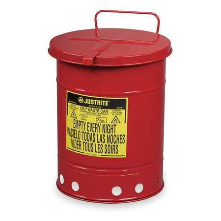 Oily Waste Can, 21 Gal., Steel, Red