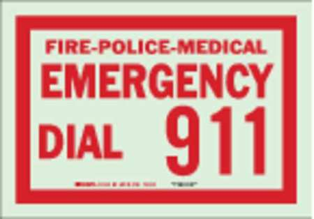 Fire Emergency Sign, 7 x 10In, R/GRN, ENG