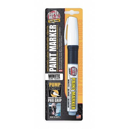 Pump Action Paint Marker, Fiber Tip, White