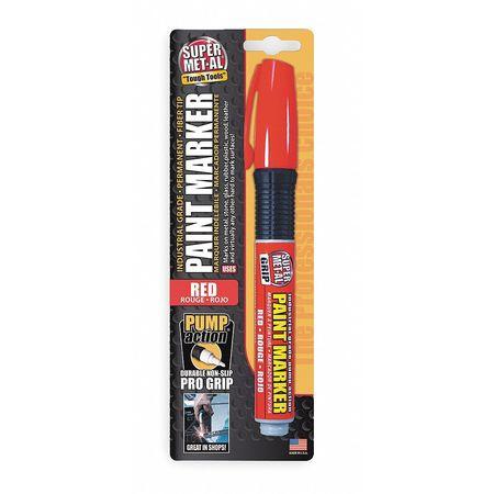 Pump Action Paint Marker, Fiber Tip, Red