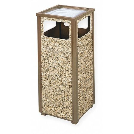 12 gal. Tan Steel Square Trash Can/ Ash Tray