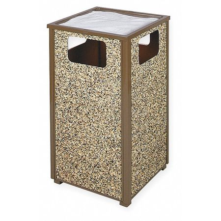 24 gal. Tan Steel Rectangular Trash Can/ Ash Tray