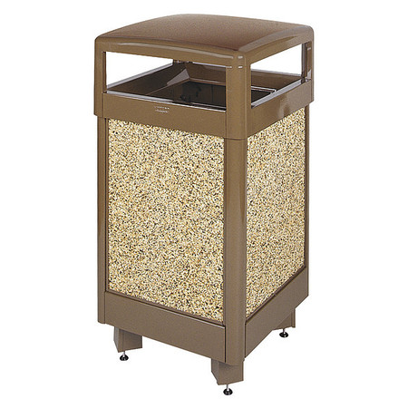 Trash Can, 29 gal., Brown/Beige/Stone
