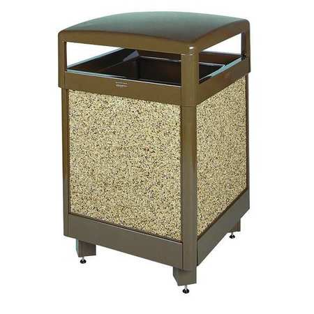 38 gal. Beige Steel Square Trash Can