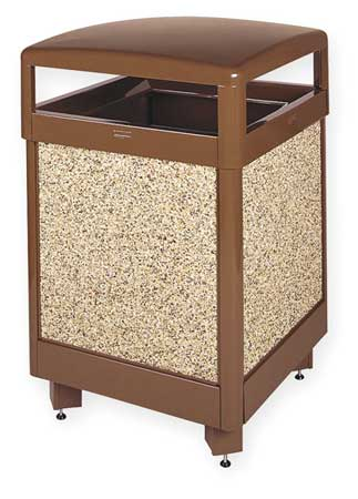 45 gal. Beige Steel Square Trash Can