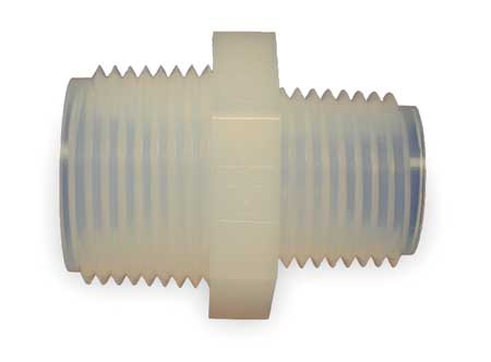 Nipple Reducer, 1/2 x 1/4 In, NPT, PFA