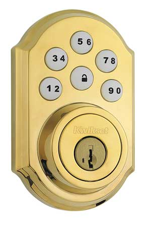 Electronic Deadbolt Lock, Brass, 6 Button