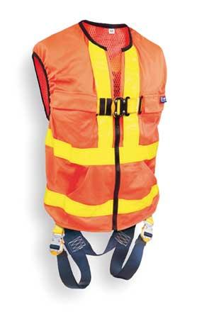 Full Body Harness, XL, Yellow/Orange