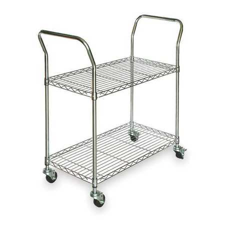 Wire Cart,  2 Shelf, Chrome, 41x18x39 In.