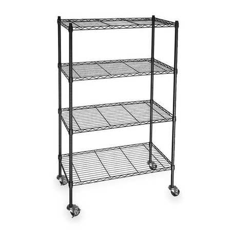 Wire Cart,  4 Shelf, L60 x W24 x H67 In.