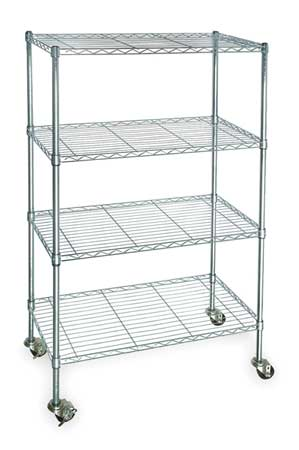Wire Cart,  4 Shelf,  Zinc, 60x24x67 In.