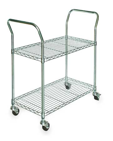 Wire Cart,  2 Shelf, 41x18x39 zinc,  In.