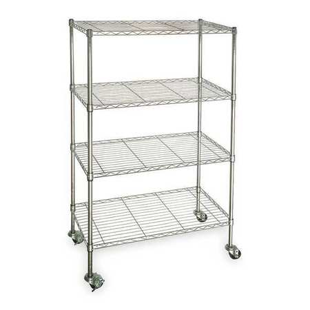 Wire Cart,  4 Shelf, Chrome, 60x24x67 In.