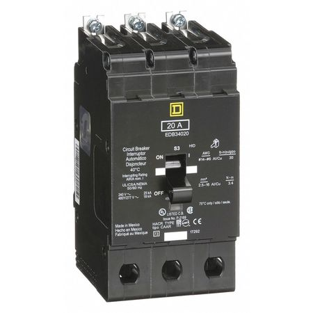 3P Standard Bolt On Circuit Breaker 20A 277/480VAC
