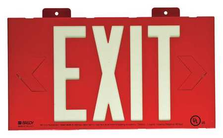 Exit Sign, 8-1/4 x 15In, YEL/RED, Exit, ENG