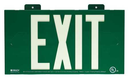 Exit Sign, 8-1/4 x 15In, YEL/GRN, Exit, ENG