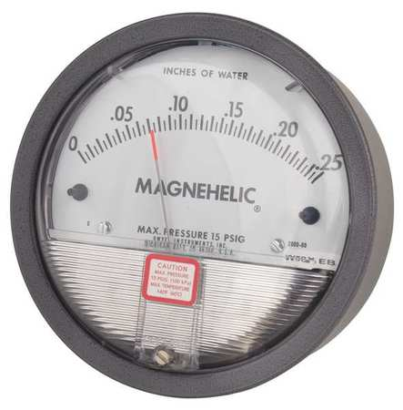 Pressure Gauge, 0 to 0.25 In H2O