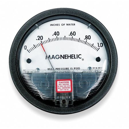 Pressure Gauge, 0 to 0.5 In H2O