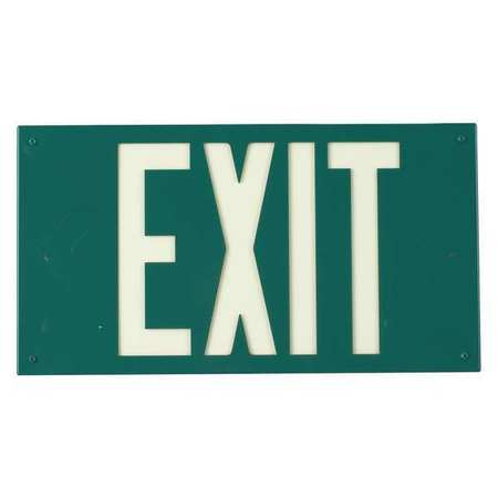 Exit Sign, 8-1/4x15-1/4In, YEL/GRN, Exit