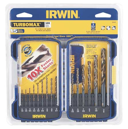 Twist Drill Bit Set, 15-pc, 1/16 to 3/8In