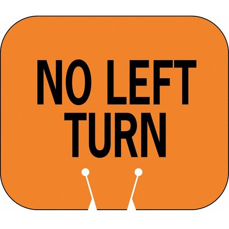 Traffic Cone Sign, Orng/Blk, No Left Turn