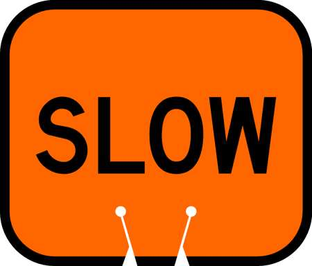 Traffic Cone Sign, Black and Orange, Slow Traffic