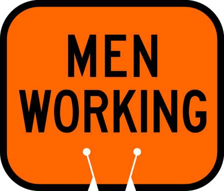 Traffic Cone Sign, Orng w/Blk, Men Working